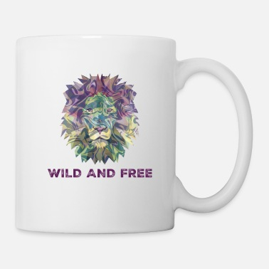 Wild Cat Digital Multicolor Wild And Free Lion Head - Mug