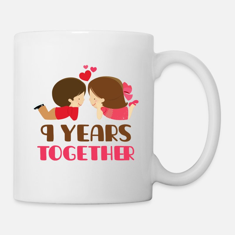 Couples Mugs & Drinkware - 9th Anniversary 9 Years Together - Mug white