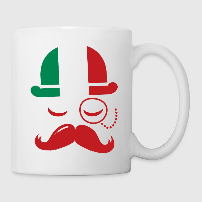 Italian nation fashionable vintage iconic gentleman with flag and Moustache olympics sports italy country - Coffee/Tea Mug