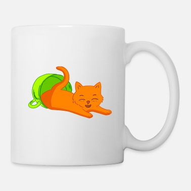 Tea Cute happy laughing kitten cat in a coffee cup. - Mug
