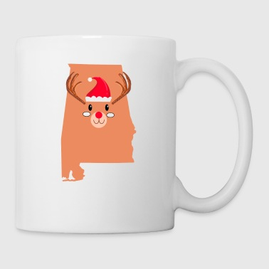 Alabama Christmas Hat Antler Red Nose Reindeer - Coffee/Tea Mug