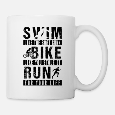 Boat Triathlon Swim Race Bike Run Sprint Retro - Mug