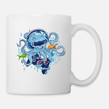 Octopus with gamepad and VR goggles - Tasse
