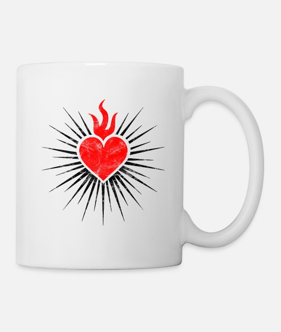 Church Mugs & Cups - Sacred Heart Symbol Love and Devotion Christianity - Mug white