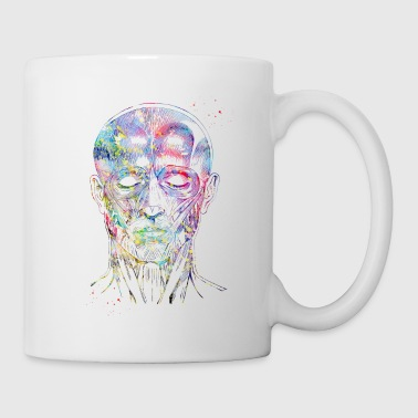 Face muscles,Watercolor Print, Medical Art, Scien - Coffee/Tea Mug