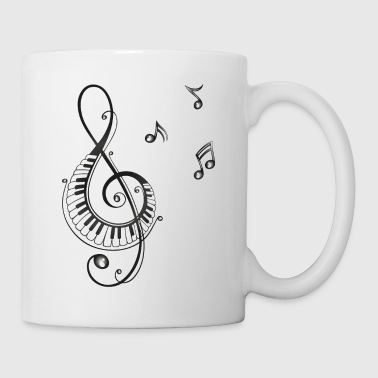 Clef with piano and music notes, i love music. - Coffee/Tea Mug