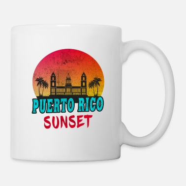 Palm Trees Puerto Rico Sunset Vintage / Gift Caribbean - Coffee/Tea Mug