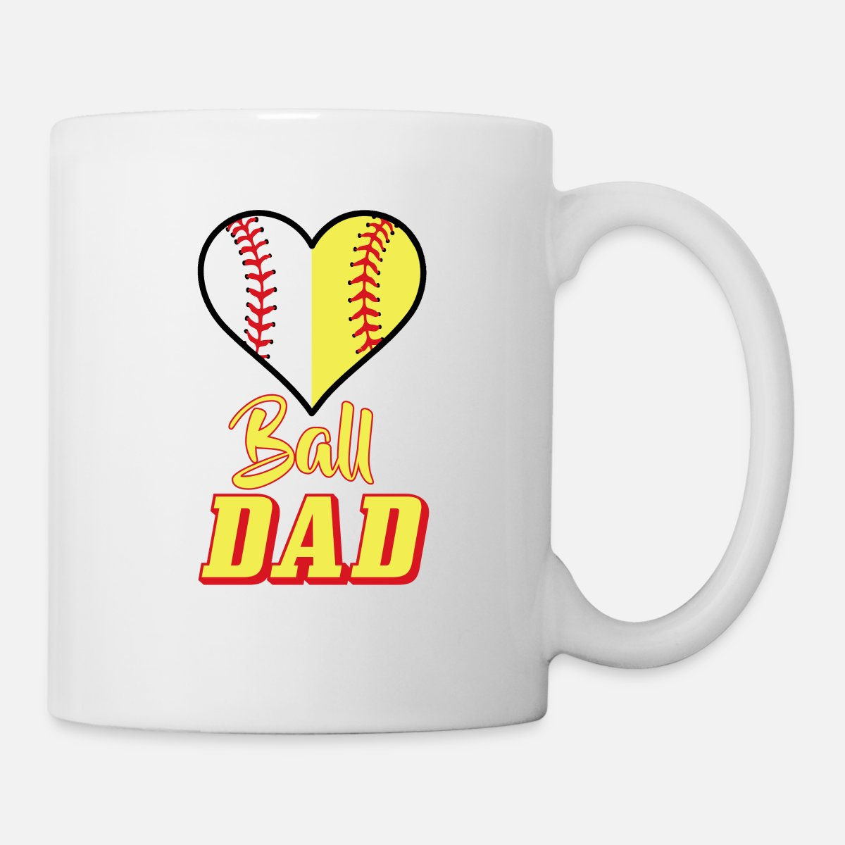 Funny Softball Baseball Dad T Shirt Sports Gift Coffeetea Mug White