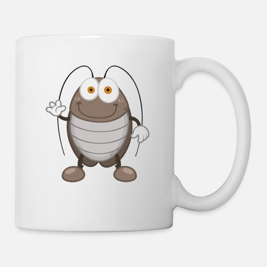 Cockroach Mugs & Drinkware - cheerful smiling cockroach insect wildlife - Mug white