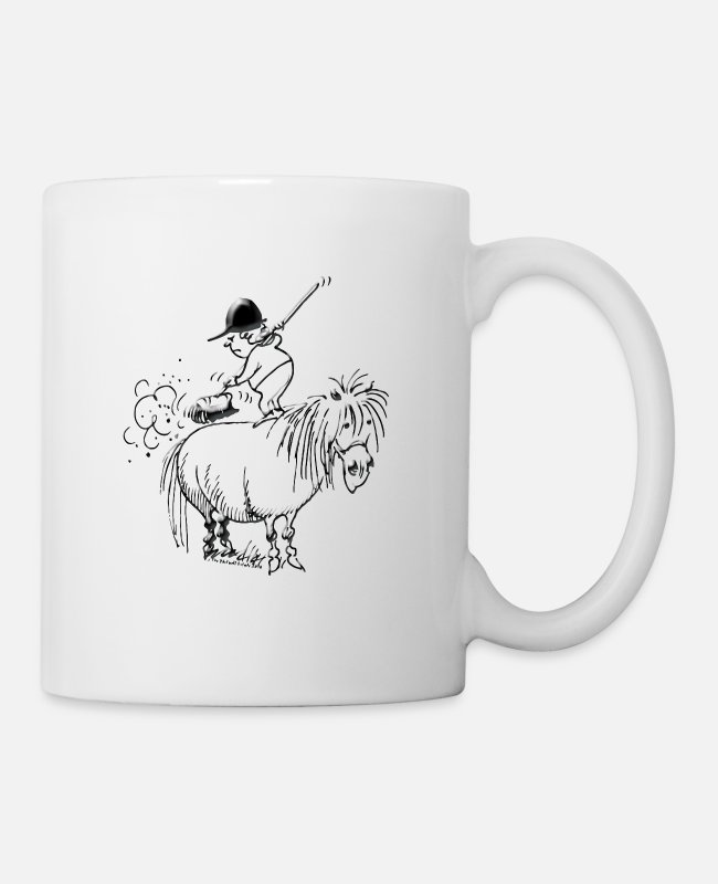Thelwell Spring Cleaning Sweeping Horse Mugs & Cups - Thelwell Spring Cleaning Sweeping Horse - Mug white