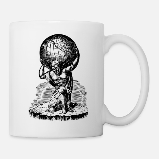 Greek Mugs & Drinkware - Atlas lifts the World Greek Mythology - Mug white