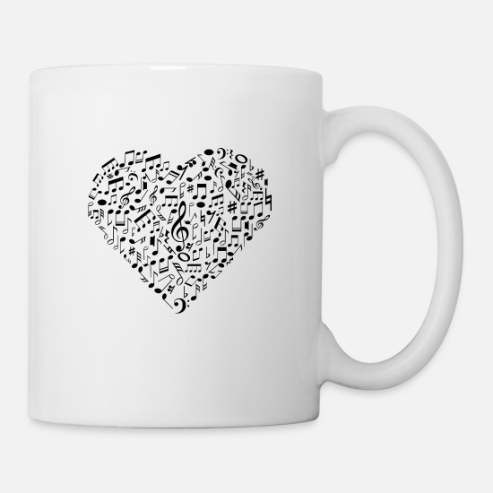 Love Mugs & Drinkware - I Love Music | Musical Symbols Musician - Mug white