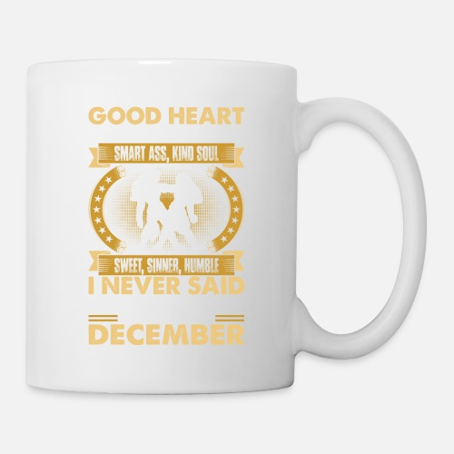 Good Heart Smart Ass Gemini Born In December Tshir Coffee/Tea Mug - white