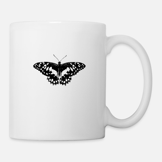 Butterfly Mugs & Drinkware - Butterfly Black and White - Mug white