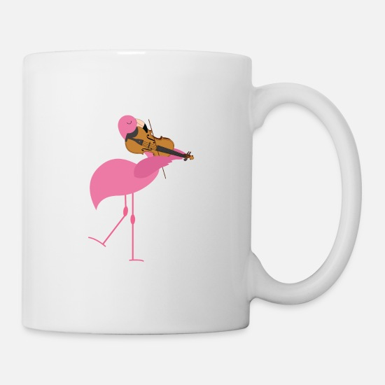 Flamingo Mugs & Drinkware - Cute Pink Flamingo Playing Violin Musician Gift - Mug white