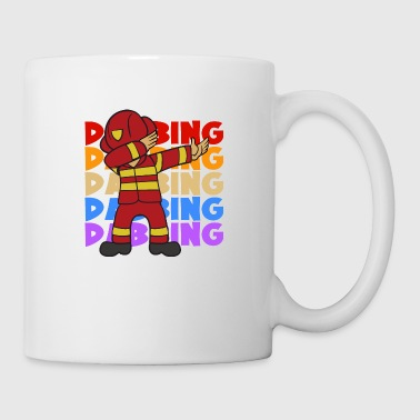 Retro Vintage Pop Art Dabbing Dab Firefighter - Coffee/Tea Mug