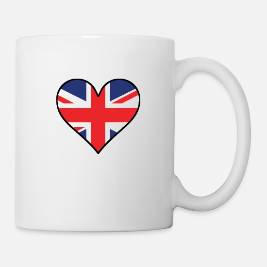 British Mugs & Drinkware - British Flag Heart - Mug white