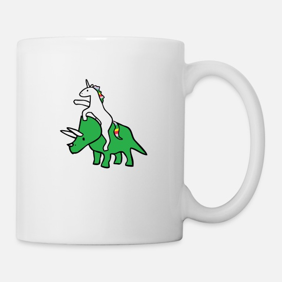 Magic Mugs & Drinkware - Unicorn Riding Triceratops - Mug white