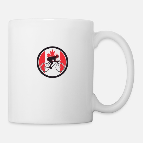 Cyclist Mugs & Drinkware - Canadian Cyclist Cycling Canada Flag Icon - Mug white