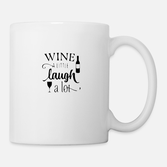 Little Man Mugs & Drinkware - wine a little laugh a lot 2 01 - Mug white