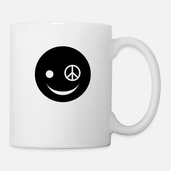 Happy Mugs & Drinkware - Peace Happy Face - Mug white