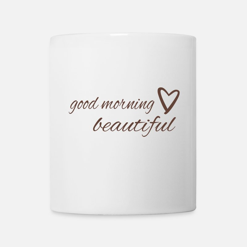 Valentine's Day Mugs & Drinkware - good morning beautiful with a heart - Mug white