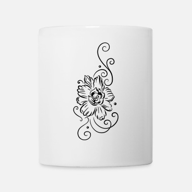 Curlicue Large blossom with tribal tattoo ornament, feminin - Mug