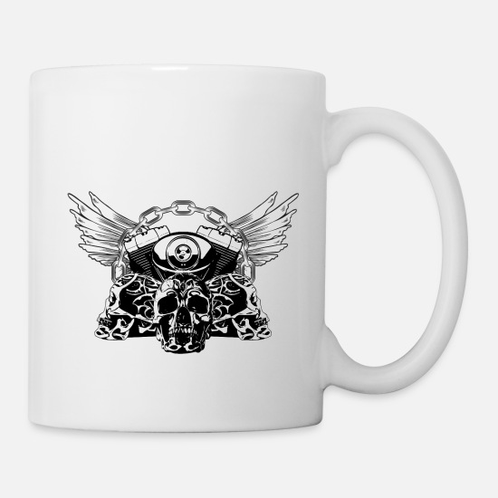 Hard Mugs & Drinkware - Tribal Skulls Biker Design 5 - Mug white