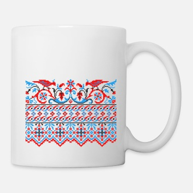 Stitch Two colorful cross-stitch birds Wedding engagement - Mug
