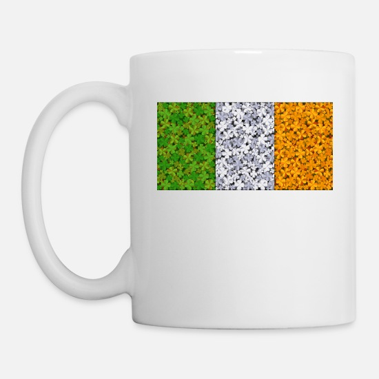 Irish Mugs & Drinkware - Flag Of Ireland Clovers - Mug white