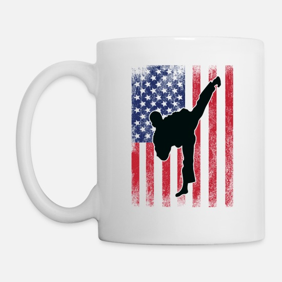 Judo Mugs & Drinkware - Taekwondo Karate USA Flag Design Mens - Mug white