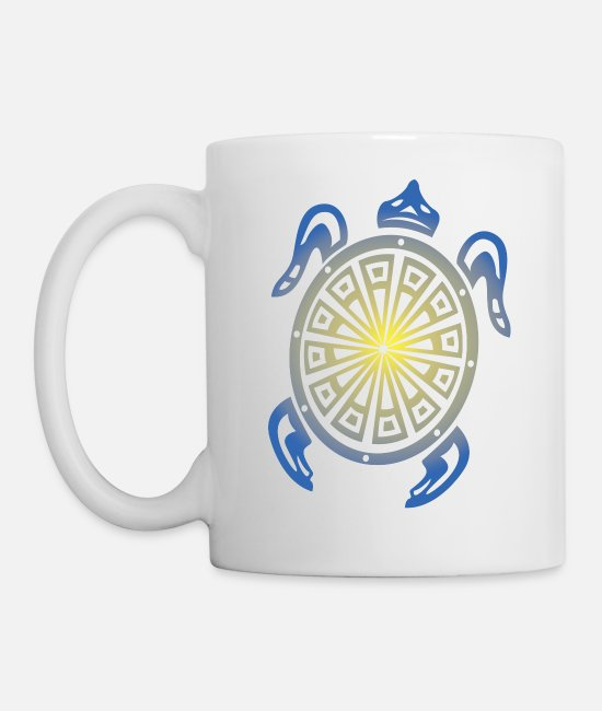 Turtle Mugs & Cups - Tribal Sea Turtle - Mug white