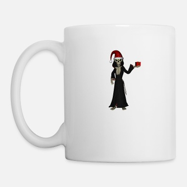 Celebrate Funny skeleton with christmas hat and gift - Mug