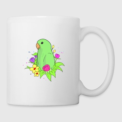 Cute dwarf parrot with colorful flowers. - Coffee/Tea Mug
