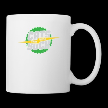Cat cause people suck gift idea green - Coffee/Tea Mug