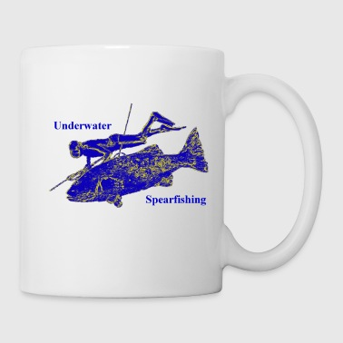 Vintage Spearfishing Freediver with Fish - Coffee/Tea Mug