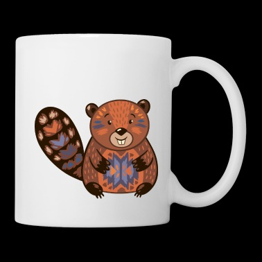 Beaver funny cartoon animal vector illustration - Coffee/Tea Mug