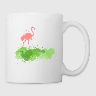 Flamingo with green splashes of color - Coffee/Tea Mug