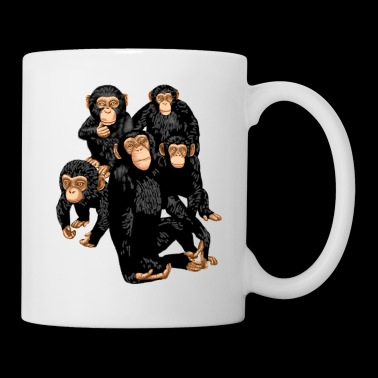 Five Cute Monkey's T-Shirt - Funny Little Ape - Coffee/Tea Mug