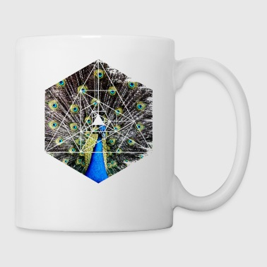 Peacock Showing Off - Hexagon Geometry Shapes - Coffee/Tea Mug