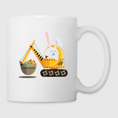 Easter Bunny Excavator with Decorated Eggs - Coffee/Tea Mug