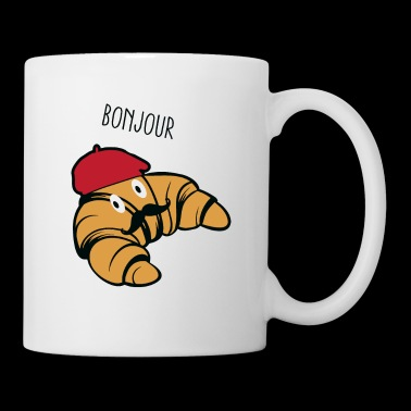 Bonjour Croissant With Mustache And Beret Hat Food - Coffee/Tea Mug