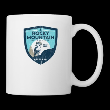 Rocky Mountain National Park Vintage Badge Design - Big Horn Sheep Scene Cool vintage National par - Coffee/Tea Mug