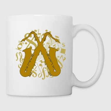 crossed saxophones on music notes - Coffee/Tea Mug