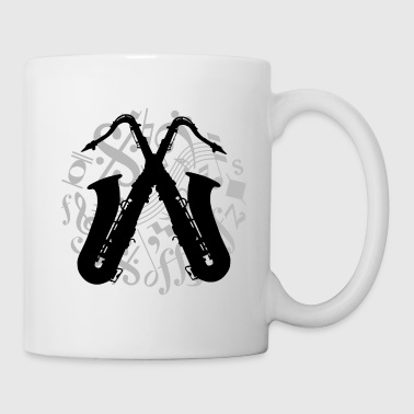 two saxophones on music notes - Coffee/Tea Mug
