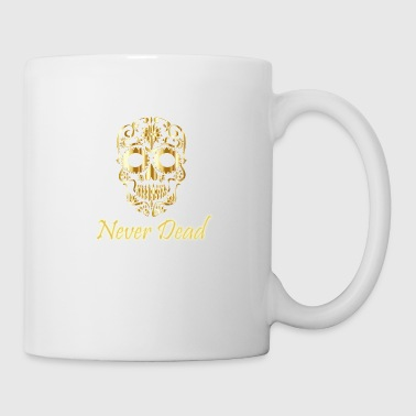Golden skull Never Dead with artistic forms - Coffee/Tea Mug