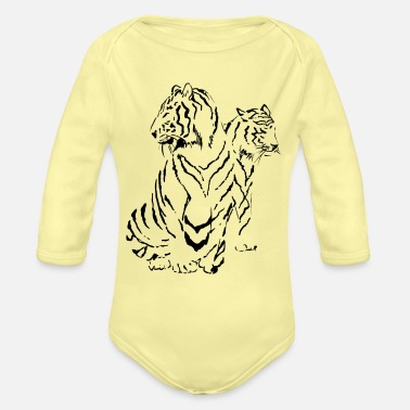 Two Tigers in China Ink - Organic Long-Sleeved Baby Bodysuit
