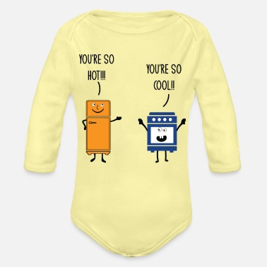 Utensil Funny Refrigerator And Oven Chef Cook Pun Jokes Hu - Organic Long-Sleeved Baby Bodysuit