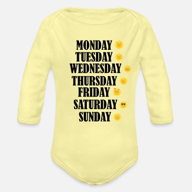 Days Of The Week Days of the Week - Organic Long-Sleeved Baby Bodysuit
