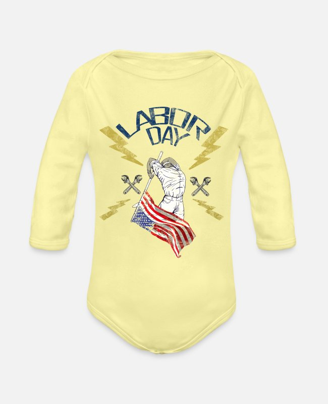 Lover Baby One Pieces - labor day usa - Organic Long-Sleeved Baby Bodysuit washed yellow